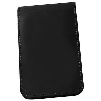 """RainWriter 33 Black Leather Top Spiral Notebook Cover, 3"""" x 5"""""""