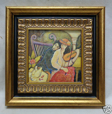 """Picture of Lovers at the Park w. Antique Style Gold & Black Decor Frame 11x11"""""""
