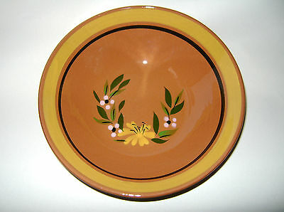 Vintage Stangl Art Pottery Red Stoneware Hand Painted Yellow Flower Serving Bowl
