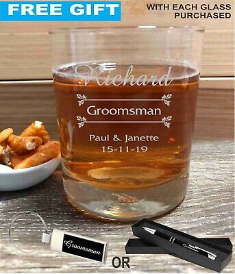 Personalised Engraved Scotch Whiskey Glass Wedding Favour Gift Groomsman Bourbon