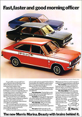 Morris Marina Tc Coupe & Saloon Retro A3 Poster Print From 70's Advert