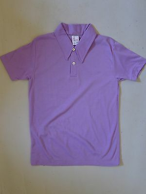 Vintage retro unused true 60s 10 yo boys polo shirt security purple