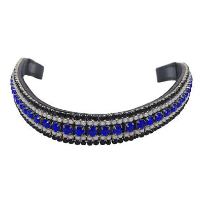NEW Black Leather BLING BROWBAND *Pearls/Blue/Black Crystals* PONY COB FULL WB