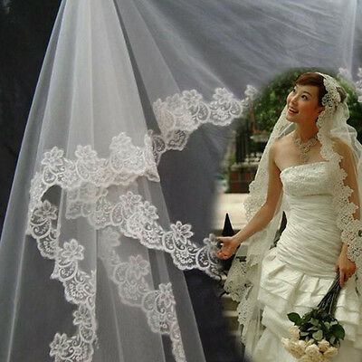 3 Meters Long Lace Edge Cathedral Wedding Gown Bridal White Tulle Veil QT