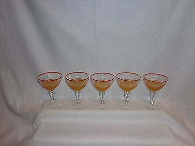 Vintage Glass Gold Textured with Red Rim Cocktail Martini Glasses (5)