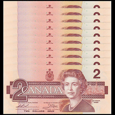 Canada 1986 (One) $2 Dollar Bill Canadian Note Mint Uncirculated CRISP Banknote