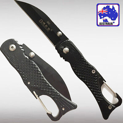 Black Mermaid Pocket Knife Foldable Blade Camping Hiking Survival Fish OKNIF9428
