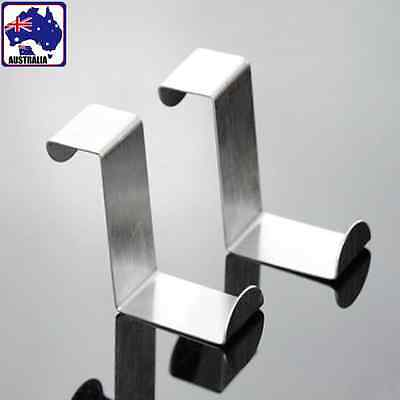 2pcs Over Door Hooks Hanger Holder Stainless Steel Cabinet Clothes HHANG 1207x2