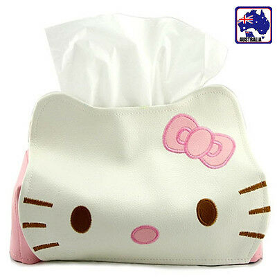 Pink White Hello Kitty Car Desk Home Tissue Box Cover Napkin Holder HKTIS 5558