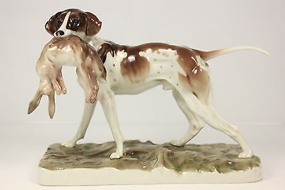 ***stolen*** Antique Nymphenburg Porelain Hunting Pointer Gun Dog C.1910 Meissen