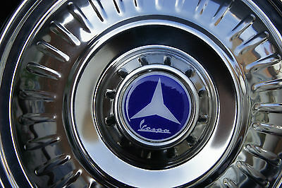 "VESPA VLB VBB GL PX VBC GS 8"" 10"" Stainless Steel Spare Wheel Cover Trim Blue"