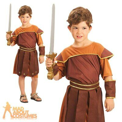 Child Roman Soldier Costume Teen Gladiator Warrior Book Day Fancy Dress Outfit