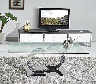 Channel Stylish Modern Designer Glass and Steel Living Room Coffee Table