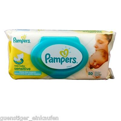 Pampers 50 Wet wipes new baby sensitive with practical Dispenser Opening