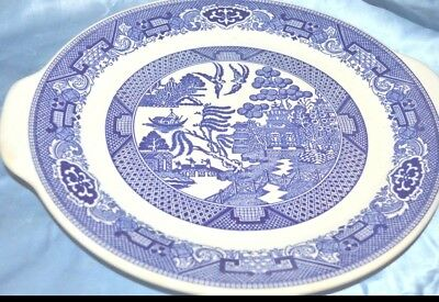 Vintage  WILLOW WARE ROYAL CHINA Blue Willow CAKE PLATE W HANDLES