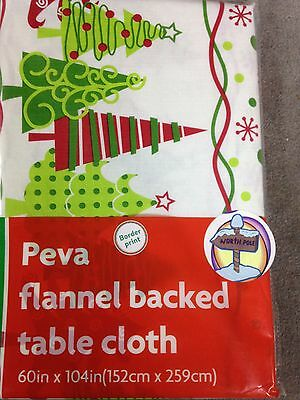 "Table Cloth 60"" x 104 "" Peva Flannel Backed Border Print  (T-15)"