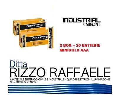 20 Batterie Duracell Industrial Procell Pile Alcaline MINISTILO AAA