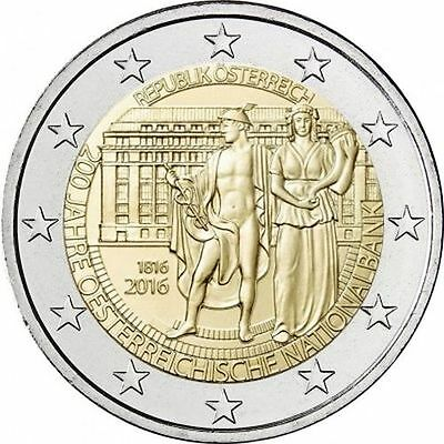 "2016 Austria 2 Euro Uncirculated Coin ""National Bank 200 Years"""