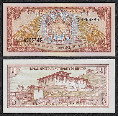 Butan - Bhutan 5 Ngultrum  ND 1985  Pick 14a   SC = UNC