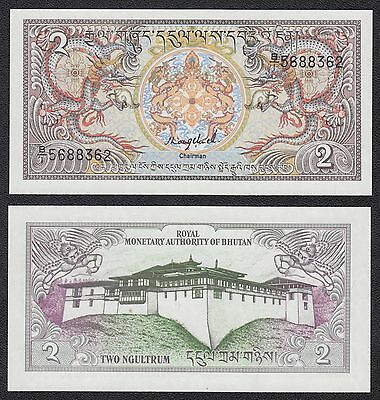 Butan - Bhutan 2 Ngultrum  ND 1986  Pick 13   SC = UNC