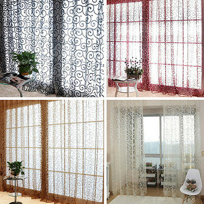 Solid Floral Tulle Voile Door Window Curtains Drape Sheer Scarf Valances Hot
