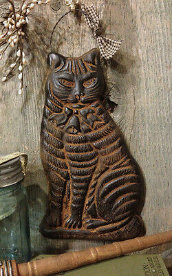 Beeswax Blackened Cinnamon Scented Folk Art Primitive Barn Cat FREE SHIP