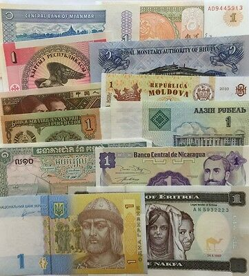 Lot42B -12Pcs  Different Countries  World Paper Money Set/Lot - UNC Bundle