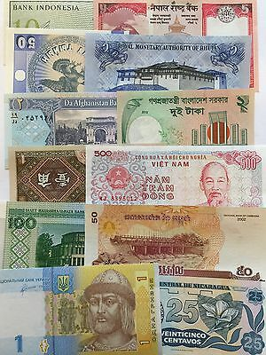 Lot45B Set 12 Pcs Different Countries World Paper Money Set/Lot UNC From Bundle