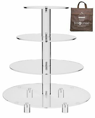 Jusalpha® 4 Tier Acrylic Glass Round Cake Stand-cupcake Stand- Dessert Stand