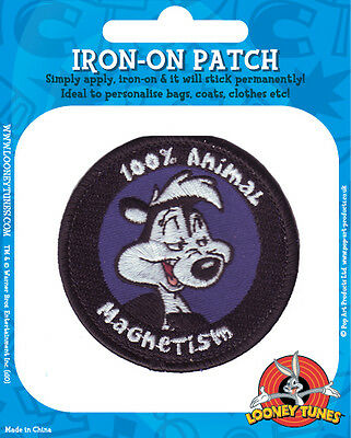 PEPE LE PEW 100% animal magnetism EMBROIDERED IRON/SEW ON PATCH/BADGE (sealed)
