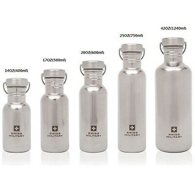 [Swiss Military] Stainless Steel Sports Water Bottle Outdoor Camping Hiking