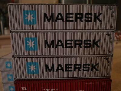 N scale 9 x 40 Foot - Shipping containers MAERSK Stack for Model Train Railway