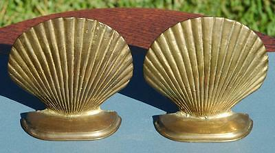 Pair of Vintage Brass Seashell Bookends Clam Shell Heavy Quality Nautical Decor