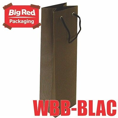 200 x Black Striped Wine Gift Bag with Rope Handle High Quality 100% Recyclable