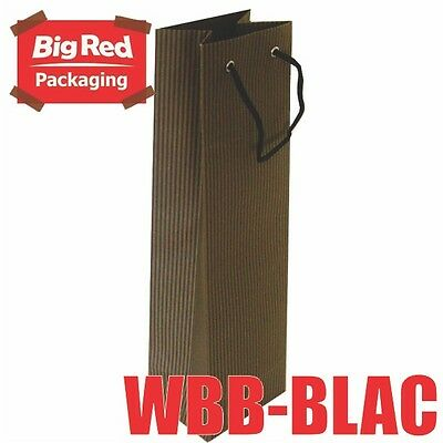 50 x Black Striped Wine Gift Bag with Rope Handle High Quality 100% Recyclable