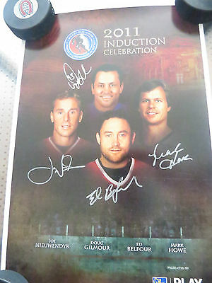 2011 Hockey Hall Of Fame Induction Signed Poster Gilmour Nieuwendyk Belfour