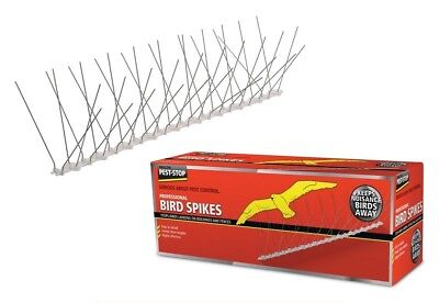 PEST-STOP PROFESSIONAL BIRD SPIKES - 5 METRES - Tough Steel Spike & Plastic Base