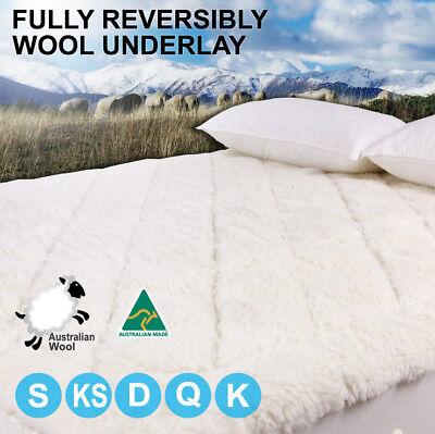Aus Made Fully Fitted Reversible Luxury Wool Underlay / Underblanket / Topper