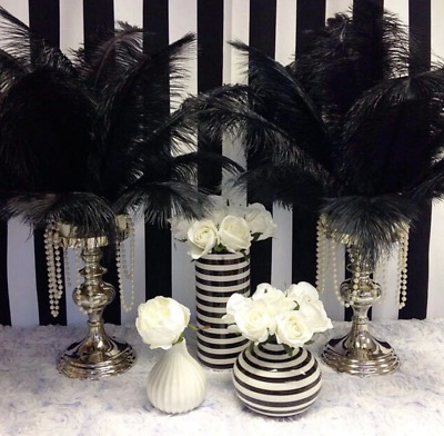 3 x 30-35cm BLACK OSTRICH Feathers DIY Craft Millinery Wedding Party Cake Decor