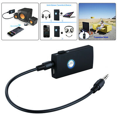 2 in 1 Bluetooth Wireless Audio Transmitter & Receiver 3.5mm Music Adapter PC TV