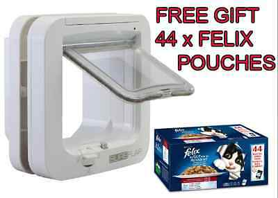 Sureflap Microchip Cat Flap White Kitten Small Dog Automatic Electronic + GIFT