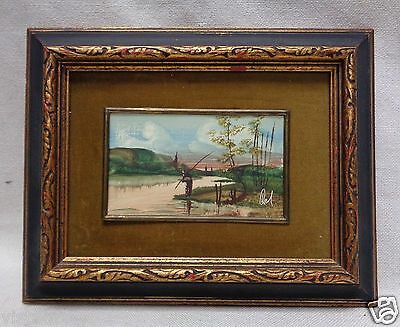 Nice Fishing Lake Picture w. Olive Green Border & Black/ Gold Antique Frame