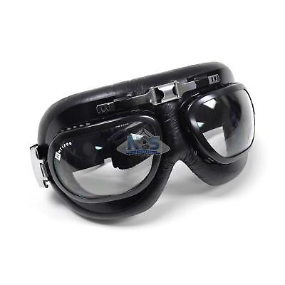Classic Pilot Aviator Style Bubble Lens Motorcycle Goggles Black Leather