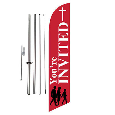 You're Invited Church Feather Banner Swooper Flag Kit +spike
