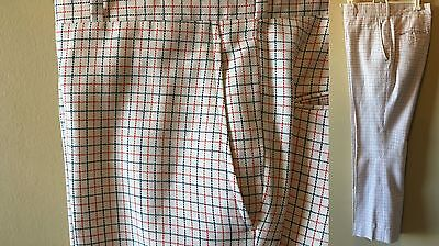 "Vintage Men's Famous Barr Red White Blue Checked 1970s Golf Flare Pants 31""x28"""