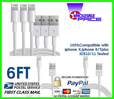 10X 6FT USB Charger Cable Cord Compatible With iPhone 5/6/6s Plus Wholesale Lot