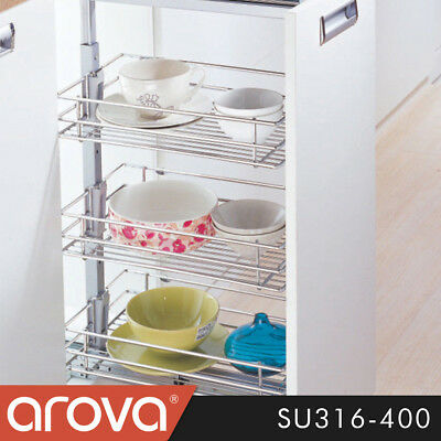 Pull Out Pantry Organiser Kitchen Base Storage Wire Basket For 400mm Cabinet