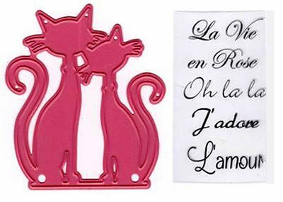 Marianne Design Clear Stamp & Die Set ~ PAIR OF FRENCH CATS  Love   ~COL1344