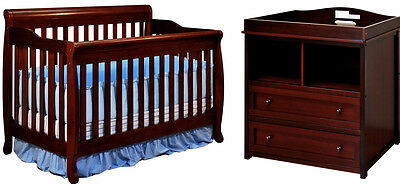 Convertible Crib Set Changing Table Dresser Nursery Baby Boy Girls Toddler Infan