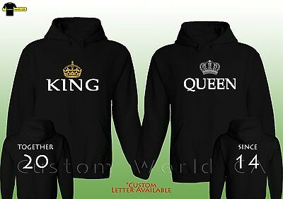Couple Custom Made Hoodie - Together Since King And Queen Matching Couple Hooded